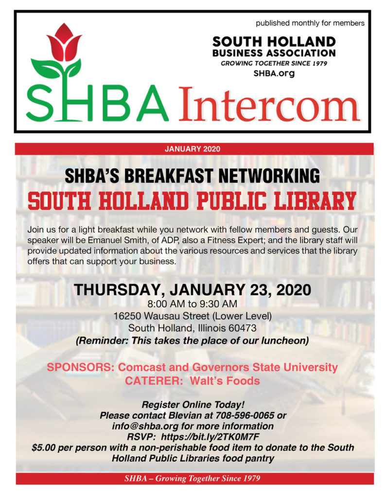 thumbnail of the cover of the South Holland Business Association's monthly newsletter for January.