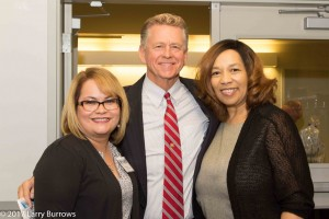 Village President Don A. De Graff with SHBA President Angie Zuniga and SHBA Executive Director Blevian Moore. 2017 May Luncheon at the South Holland Business Association in South Holland, IL